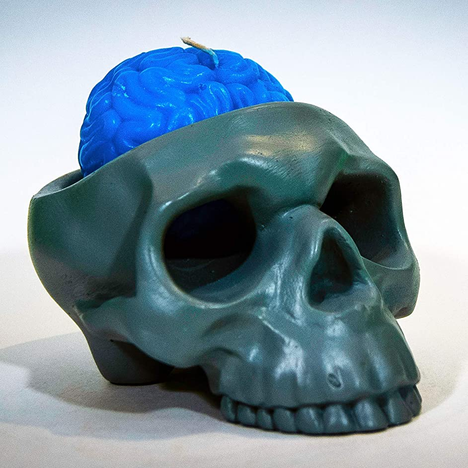 My Geek Things Handmade Novelty Crying Skull Candle Holder with a Brain Candle (Grey/Blue)