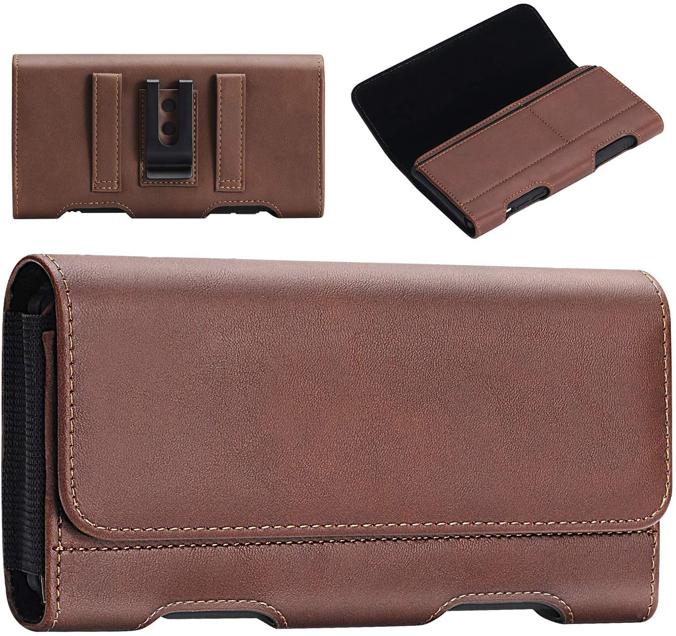 BECPLT iPhone SE 2020 Holster Case, iPhone 8 Belt Clip Case, Premium Leather Holster Pouch Loops Carrying Case with ID Card Holder for Galaxy S10e Apple iPhone 8 7 6s 6 (Fit w/Thin Case on) (Brown)