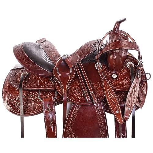 9318aa6b20bf2 AceRugs Western Parade Show Pleasure Trail Horse Leather Saddle TACK Set 15  16 17 18