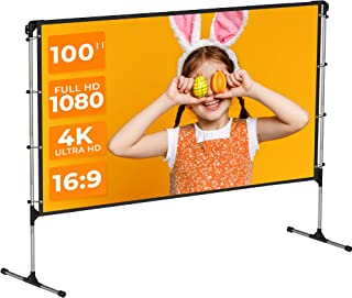 VANKYO StayTrue Projector Screen with Stand, 100 inch Anti-Crease 4K Outdoor Movies Screen, Foldable Portable Projector Sc...