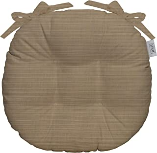 RSH Décor Indoor/Outdoor Round Tufted Bistro Chair Cushion with Ties - Made with Sunbrella Dupione Sand (14