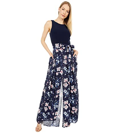 Vince Camuto Printed Chiffon and Ity Twofer Jumpsuit (Navy Multi) Women