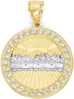 10k Real Solid Gold Last Supper Medallion with CZ Stones, Catholic Jewelry, Christian Gifts for Him