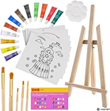 ETI Toys, 26 Piece Kids Art Painting Set with Wood Easel, 6 Princesses and Castles Themed Canvases, 12 Color Acrylic Paints, 5 Paint Brushes, Palette. Arts Studio for Artist Children Ages 6+ Years