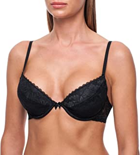 frugue Women's T-Shirt Push-Up Sexy Lace Plunge Padded Bra