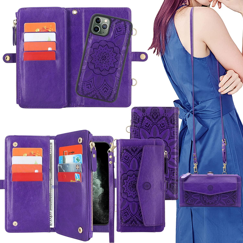 Harryshell [Block Theft Card Scanning] Card Slots Holder, Detachable Magnet Wallet Case Cover Cash Bill Zipper Pocket Crossbody Lanyard Strap for iPhone 11 Pro 5.8 inch 2019 (Floral Purple)