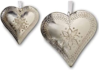 2 PIece Rustic Silver Heart Charm Set, Hand Made, Romantic, Detailed and Engraved, Accents for Wreaths, Windows, Doors, Metal, Large - 6 Inches, Medium - 4 Inches, White Ribbon Hangers