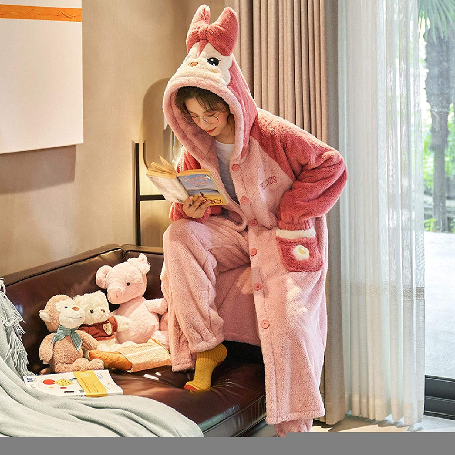 Sale special price STJDM Nightgown Flannel Winter Great interest Warm Pants Long Sleeve Pajam