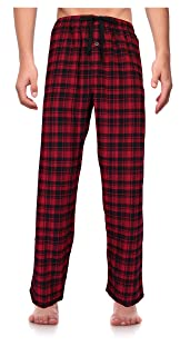 Image of Black and Red Plaid Flannel Pajama Pants with Pockets for Men