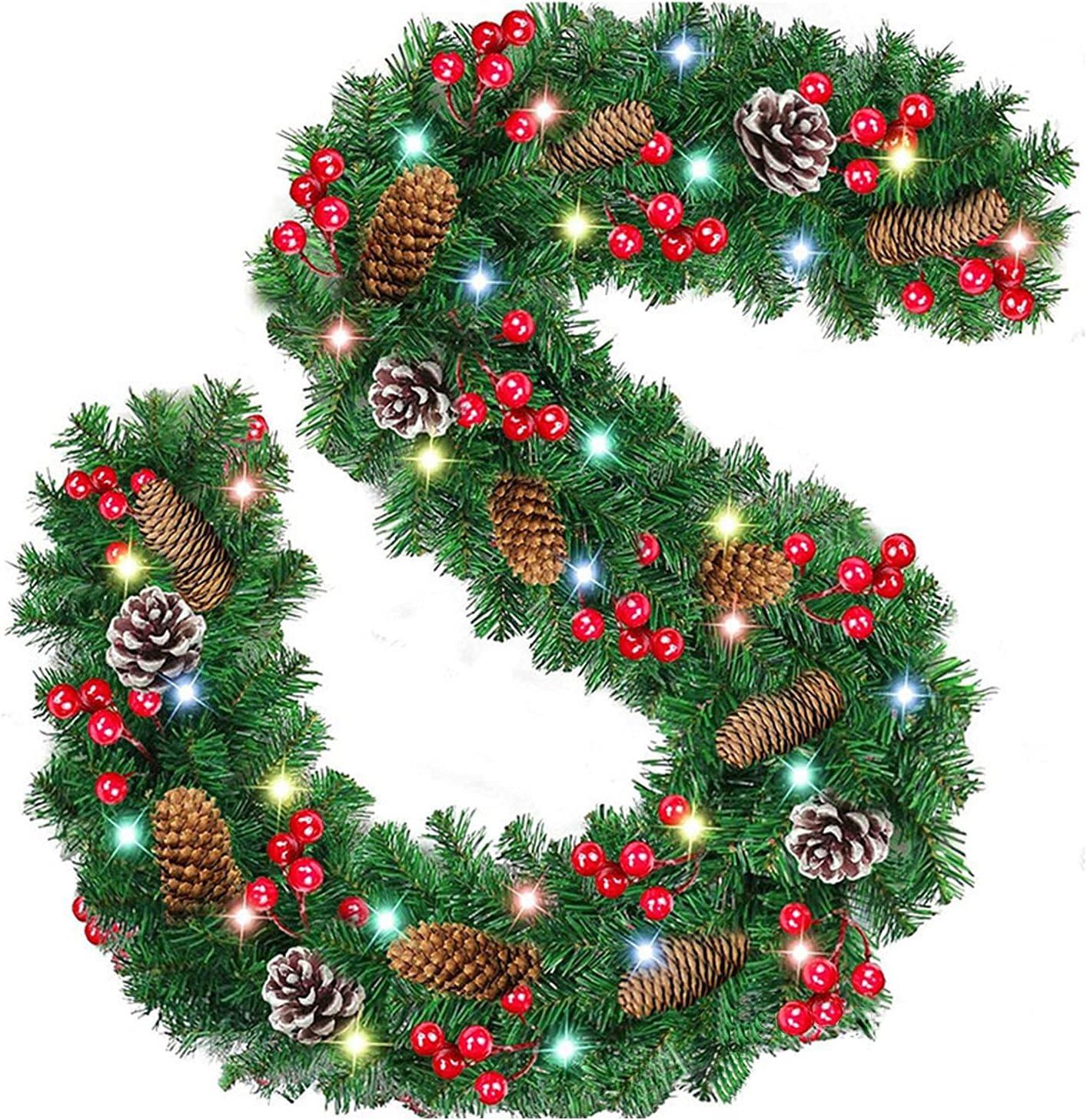 Guirnaldas Luces Interior Habitacion Con Pilas, Guirnalda Navidad Verde Con Luces De Hadas Y Bayas Piñas Bolas, Led Guirnalda Arbol Navidad Decoración Por Chimeneas Escaleras Puerta Exterior (A)