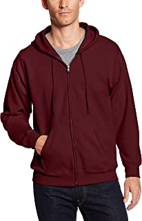 Hanes Men's Full-Zip EcoSmart Fleece Hoodie, Maroon, 2XL