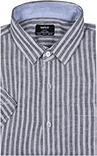 ESTILO Casual Linen Shirt for Men Awning Striped Grey