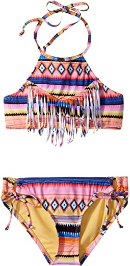 Hobie Kids - Shock This Way Fringe High Neck & Adjustable Hipster Set (Big Kids)