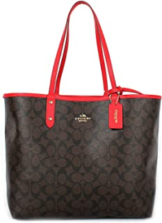 Coach F36609 Reversible PVC City Signature Tote (Brown/Red)