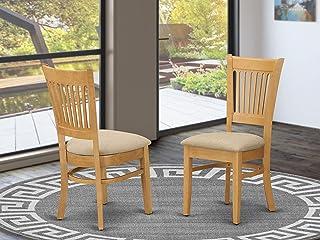 East West Furniture VAC-OAK-C Wonderful padded Parson...