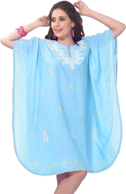 LA LEELA Women's Midi Caftan Boho Dress Sleep Wear Swim Cover Ups Embroidery A