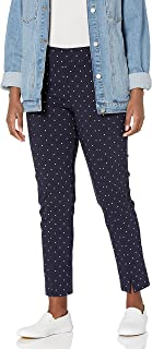 SLIM-SATION womens Pull On Seamed Front Print Twill Ankle Pant Pants