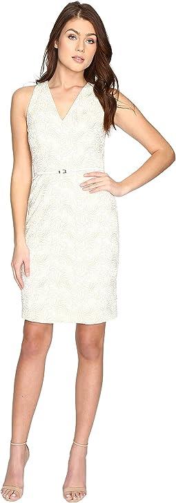 Effie Embroidered Halter Sheath Dress