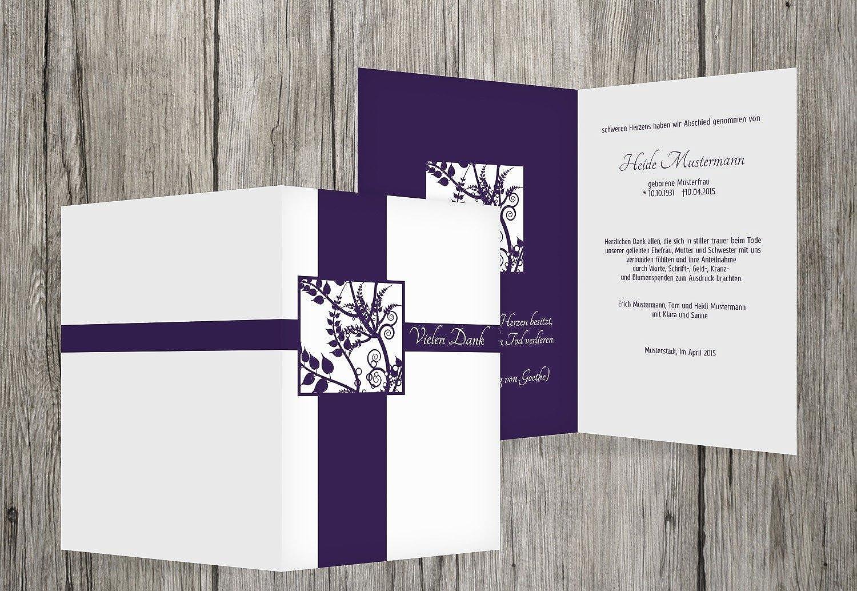 Obtén lo ultimo Tarjetas de agradecimiento luto florales cuadrado, dunklesLavendelpúrpura, 60 Karten Karten Karten  echa un vistazo a los más baratos