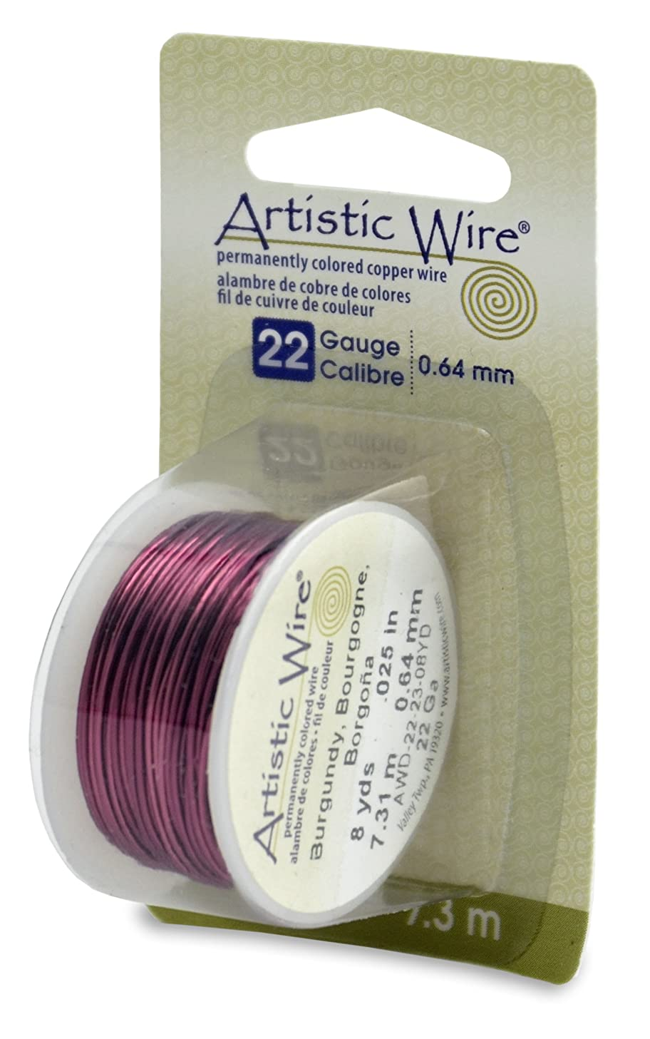 Artistic Wire Beadalon, 22 Gauge, Burgundy Color, 8 yd (7.3 m) Craft Wire,