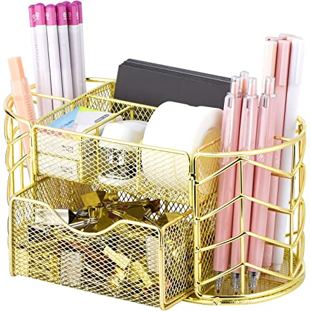 POPRUN Gold desk tidy organiser with Pen holder and memo pad holder,metal mesh Stationery Storage with drawer for office, school and Classroom