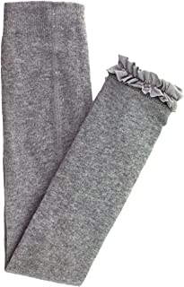 RuffleButts Little Girls Ankle Length Knit Footless Tights with Ruffle