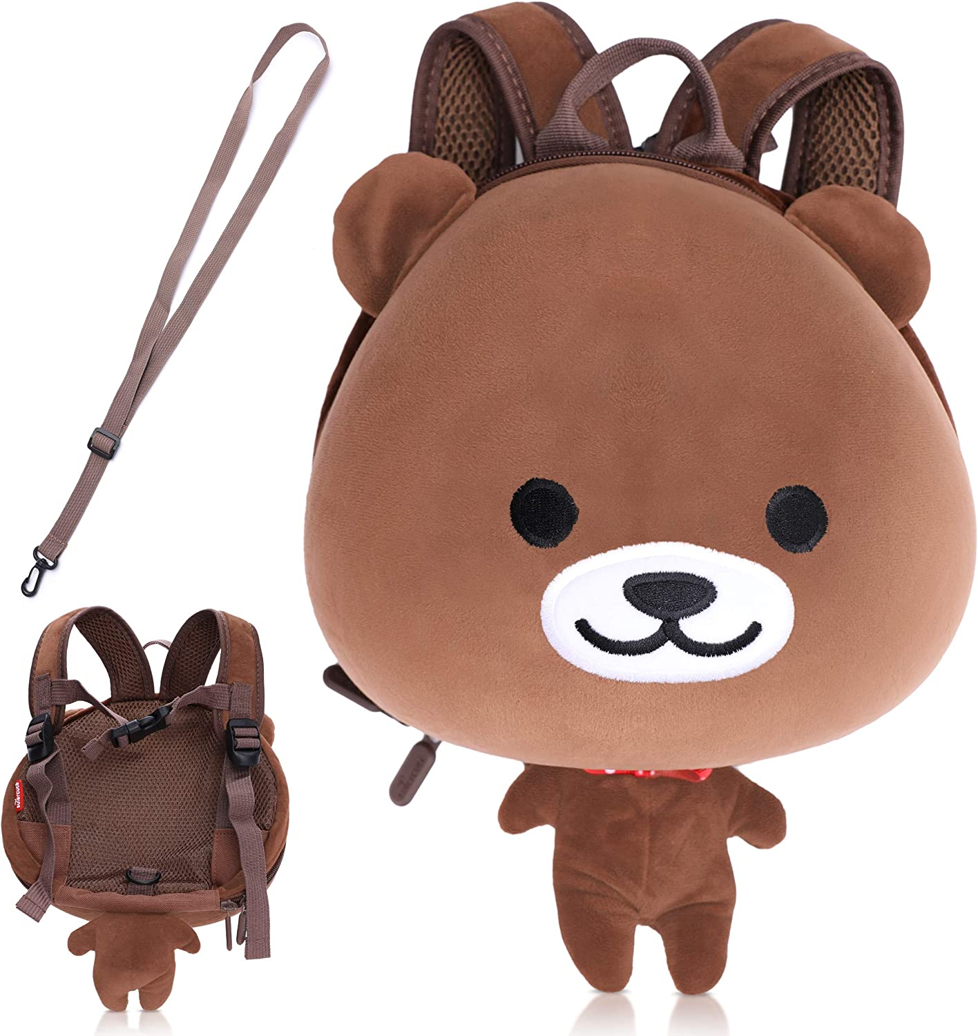 Supercute Bear Backpack with Harness and Teather - Brown