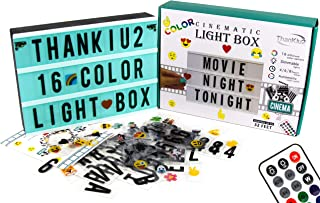 Color Changing Cinema Light Box Letters-Modern Cinematic Light Up Message Note Sign 240 Letters, Numbers, Emojis-Personalized A4 16 Colored LED Lightbox Extra Long Durable USB Cable