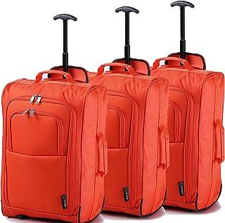 7386d5a853 Lot de 3 Super Léger de Voyage Bagages Cabine Valise Sac à roulettes (Orange )