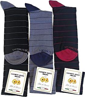 Lucchetti Socks Milano 6 paia calze uomo lunghe estive in diverse fantasie, cotone mercerizzato fresco e leggero Taglia Unica