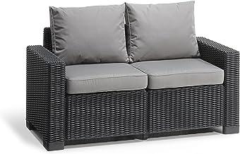 """""""Allibert by Keter"""" tuinlounge sofa California 2-zits, grafiet/panama cool grijs, incl. zit- en rugkussens, kunststof, ron..."""