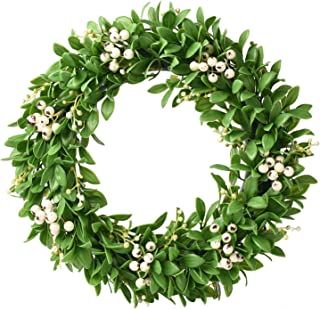 12'' Artificial White Fruits and ho pear Leaves Wreath for Front Door Spring Wreath for Wall with Green Leaves Faux Porch ...