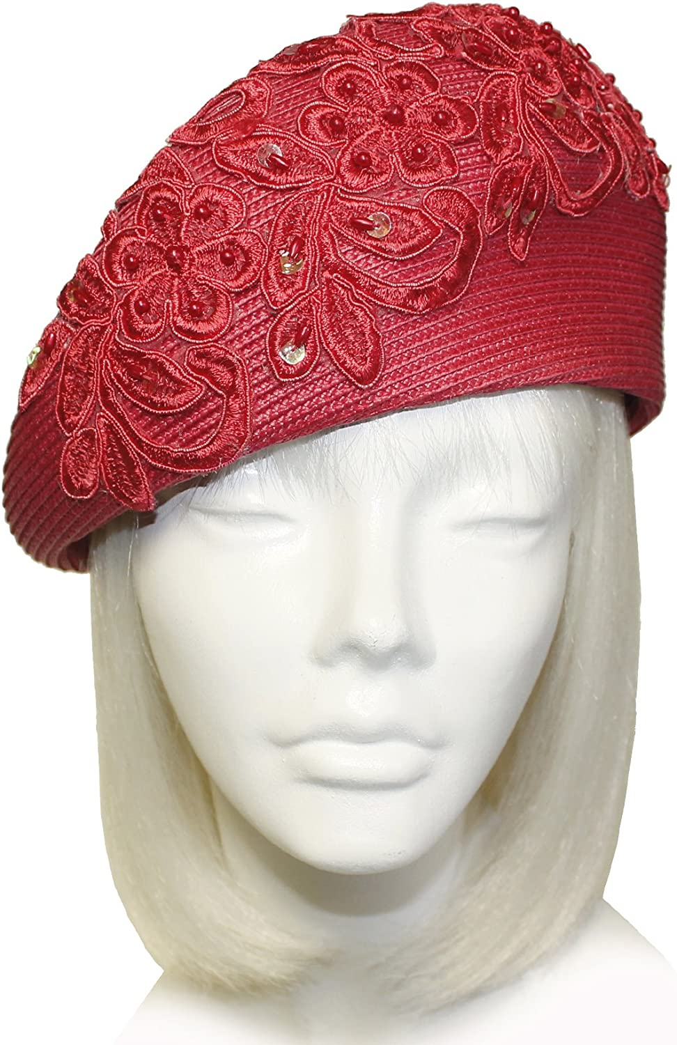 Mr. Song Millinery TaglineStraw Beret Cloche Hat with Premium Lace ST76