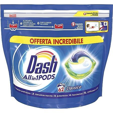 Dash All in 1 Pods Detersivo Lavatrice in Capsule, 62 Lavaggi, Classico, Maxi Formato, Rimuove le Macchine, Brillantezza Per Tutti i Capi