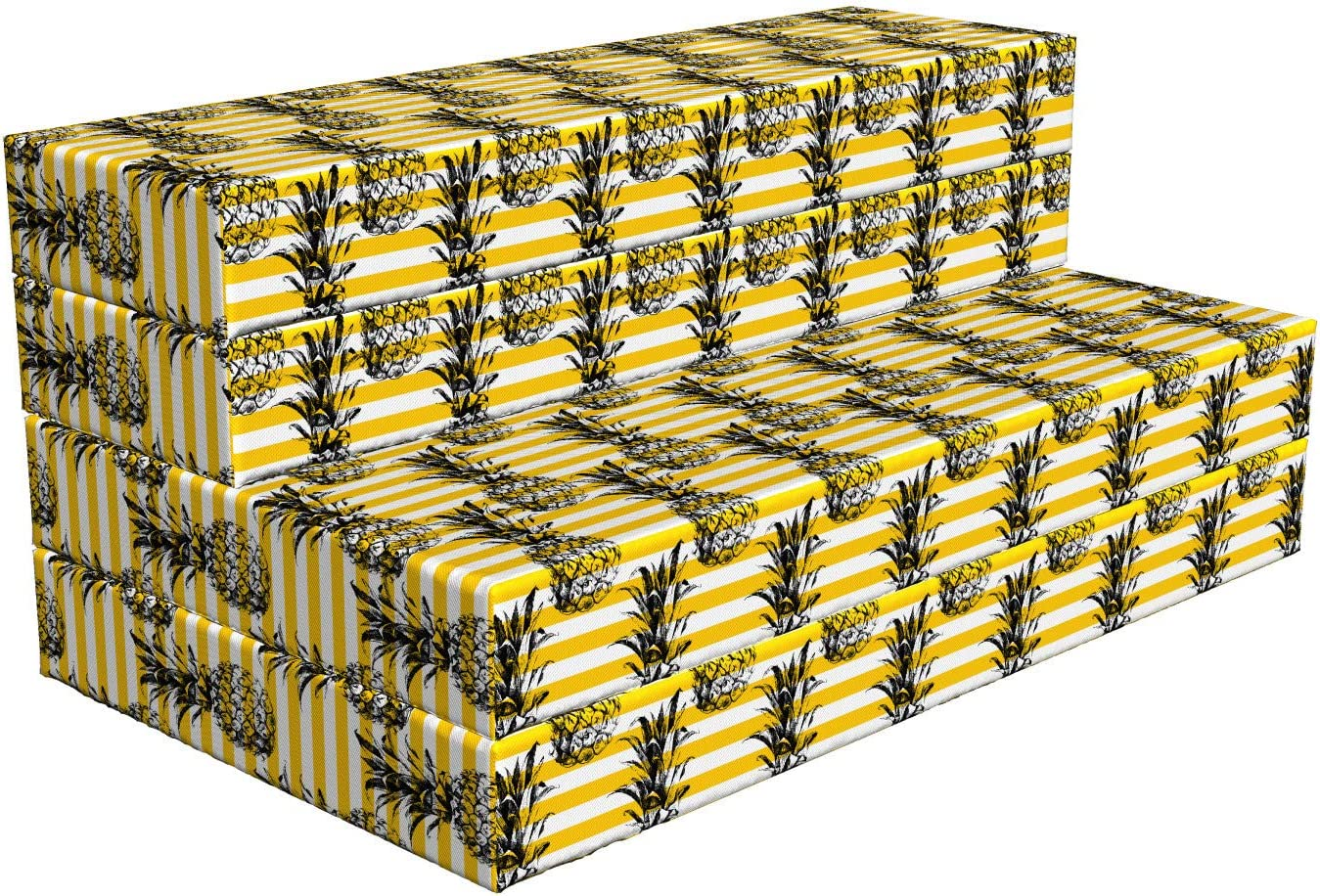 Lunarable Mustard Foldable Mattress Pineapples Tropical Free shipping anywhere in the nation Gorgeous Stripes