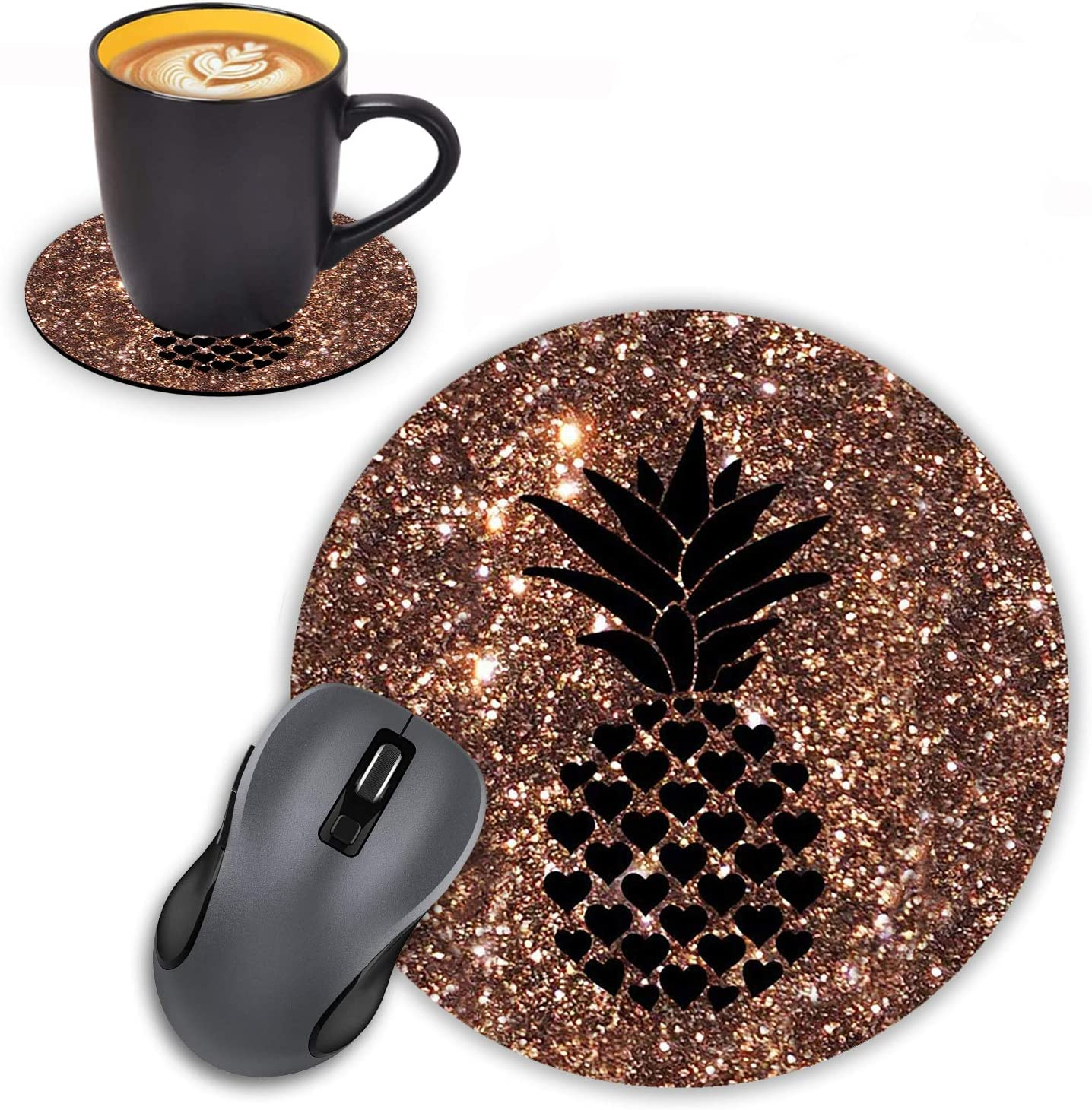 Today's only Log Zog Round Brand Cheap Sale Venue Mouse Pad with Coasters Set Pineapple Glitter on