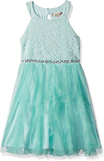 Girls' Sequin Lace/Mesh Tulle High Neck Dress