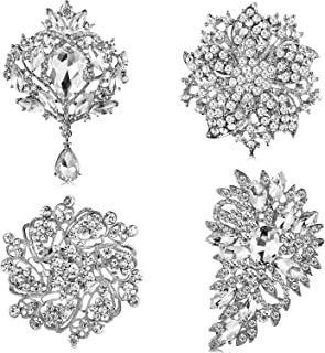 Geyoga 4 Pieces Women's Brooches Set Crystal Rhinestone Brooches Vintage Wedding Brooches for Banquet Wedding Daily Supplies