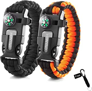Paracord Bracelets, Set of 2 Mini Outdoor Camping Hiking Gear w/Rescue Rope, Compass, Scraper, Whistle, Flint Fire Starter, Ideal Wilderness Adventure Survival Kit