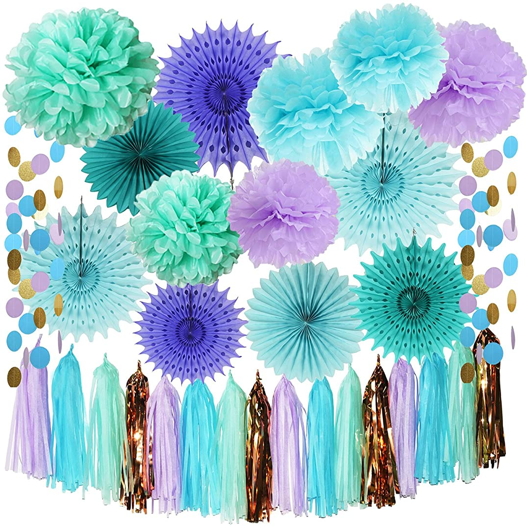 Mermaid Party Supplies Tissue Pom Poms Teal Paper Fan Flower/Under The Sea Decorations Baby Shower Decorations First Birthday Decorations Purple Bridal Shower Decorations Mermaid Party Supplies