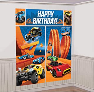 Hot Wheels Wild Racer Scene Setters Wall Decorating Kit, Birthday