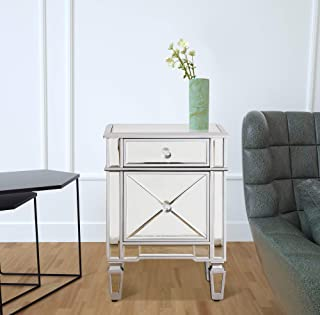 Mirrored Nightstand Bedside End Table, GA Home Storage Accent Chest 1 Drawer 1 Cabinet with Faux Wood Frame and Mirror Finish, 24