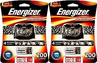BUNDLE: 2x Energizer HD5HP32E High Performance 4 modes 5 LED 200 Lumens Headlight / HeadLamp w/ 3x AAA Energizer Max Alkaline Batteries Each