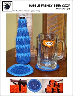 Bubble Frenzy Beer Cozy - Crochet Pattern #135 for Beer Bottle Cover and matching Coaster