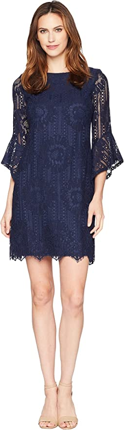 Lace Shift Dress with Flare Sleeves