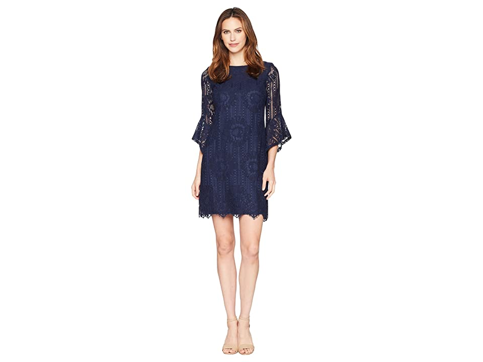 Sangria Lace Shift Dress with Flare Sleeves (Navy) Women