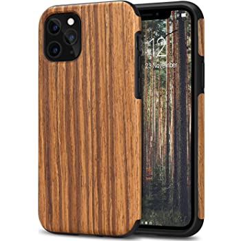 TENDLIN Compatible with iPhone 11 Pro Case Wood Grain Outside Design TPU Hybrid Case (Red Sandalwood)