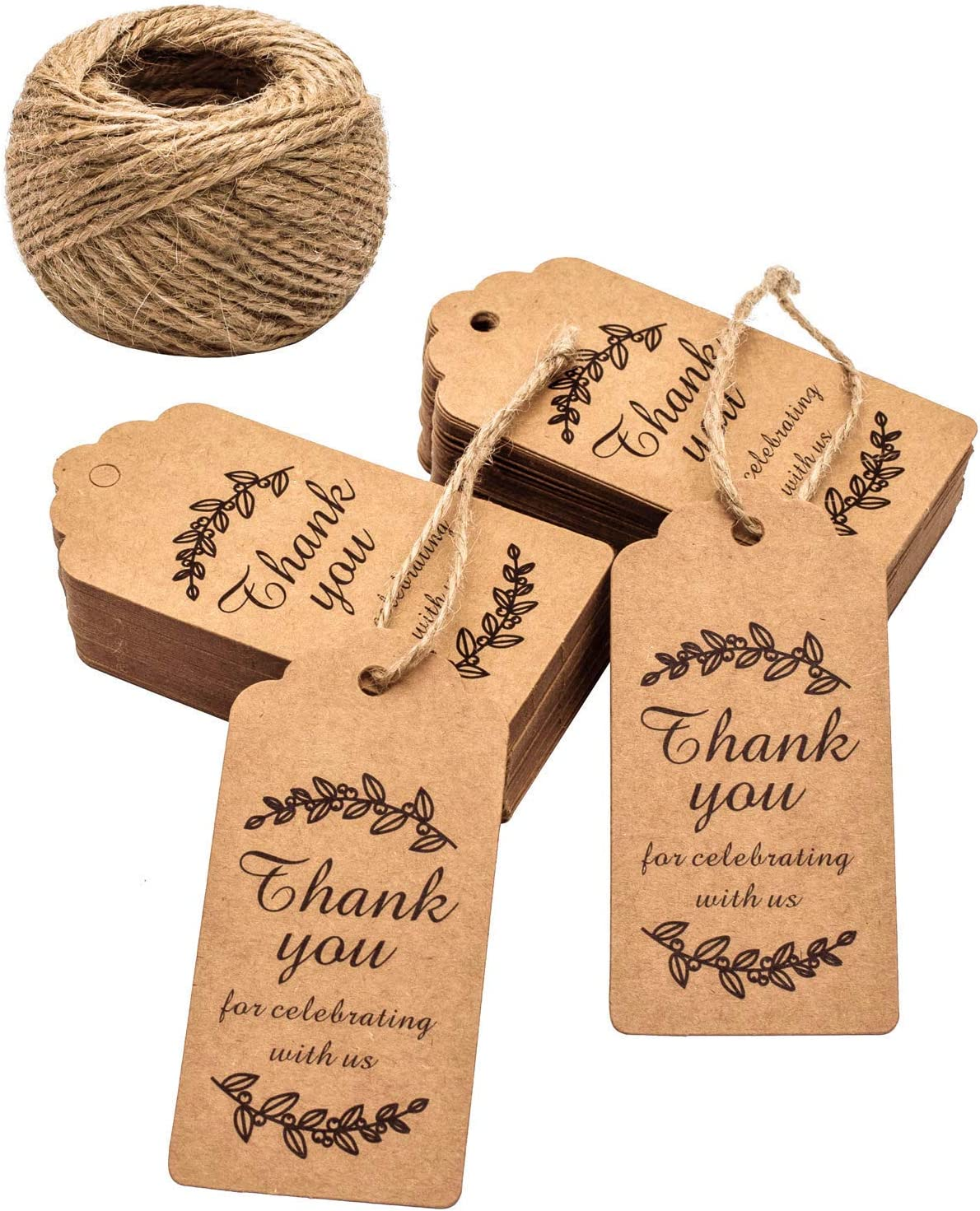 White 6.5x5CM Thank You Tags,100 PCS Heart ShapeThank You Printed Kraft Paper Gift Tags,White Wedding Favors Tags with 30M Jute Twine for DIY Crafts Hang Label