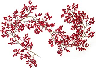 DearHouse 6FT Red Berry Garland, Flexible Artificial Red and Burgundy Berry Garland for Indoor Outdoor Hone Fireplace Decoration for Winter Christmas Holiday New Year Decor
