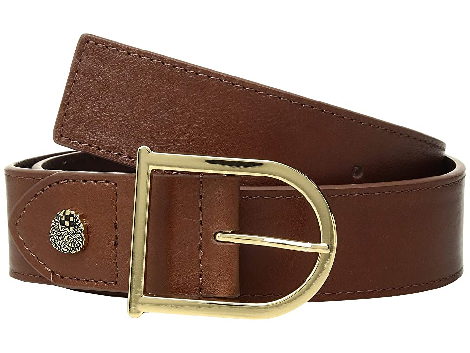 Vince Camuto Smooth Leather Belt with Signature (Cognac) Women